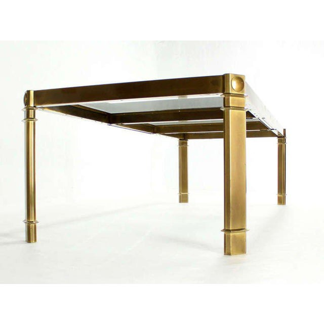 WorldClass Large Glass And Brass Dining Table By Mastercraft Mid - Large mid century modern dining table