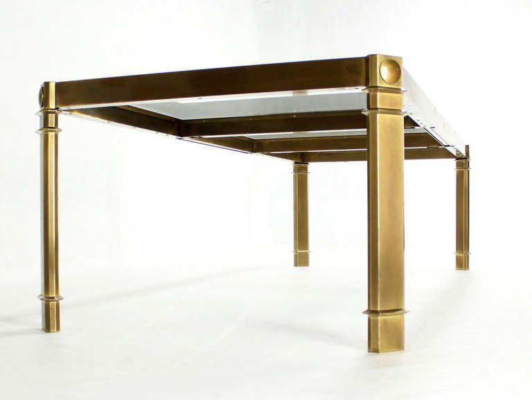 Large Glass And Brass Dining Table By Mastercraft, Mid Century Modern    Image 3