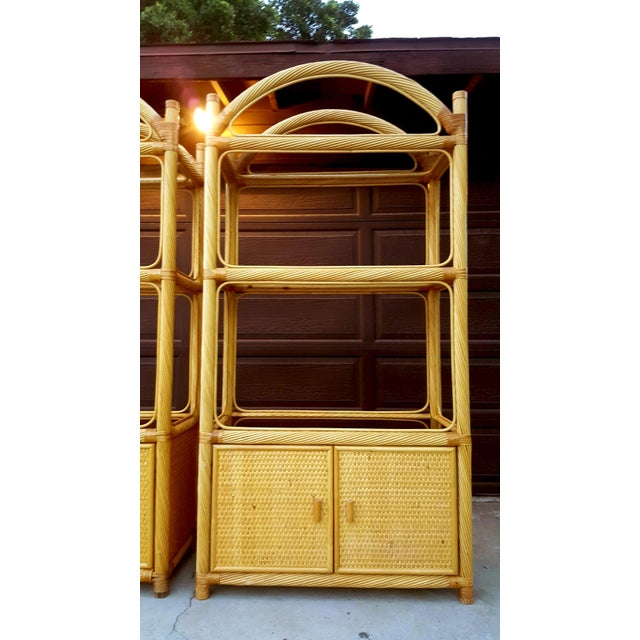 2000s Ficks Reed Chippendale Style Rattan Étagères - a Pair For Sale - Image 5 of 13