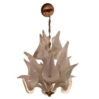 Mid-Century Italian Modern Camer Calla Lily Handblown Murano Glass Chandelier For Sale