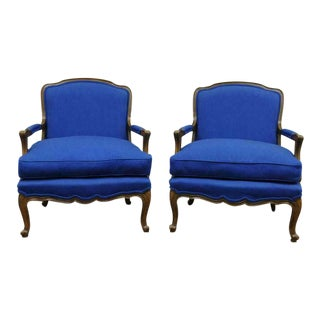 1960s Vintage Baker Furniture Provincial French Country Louis XV Blue Bergere Arm Chairs- A Pair For Sale