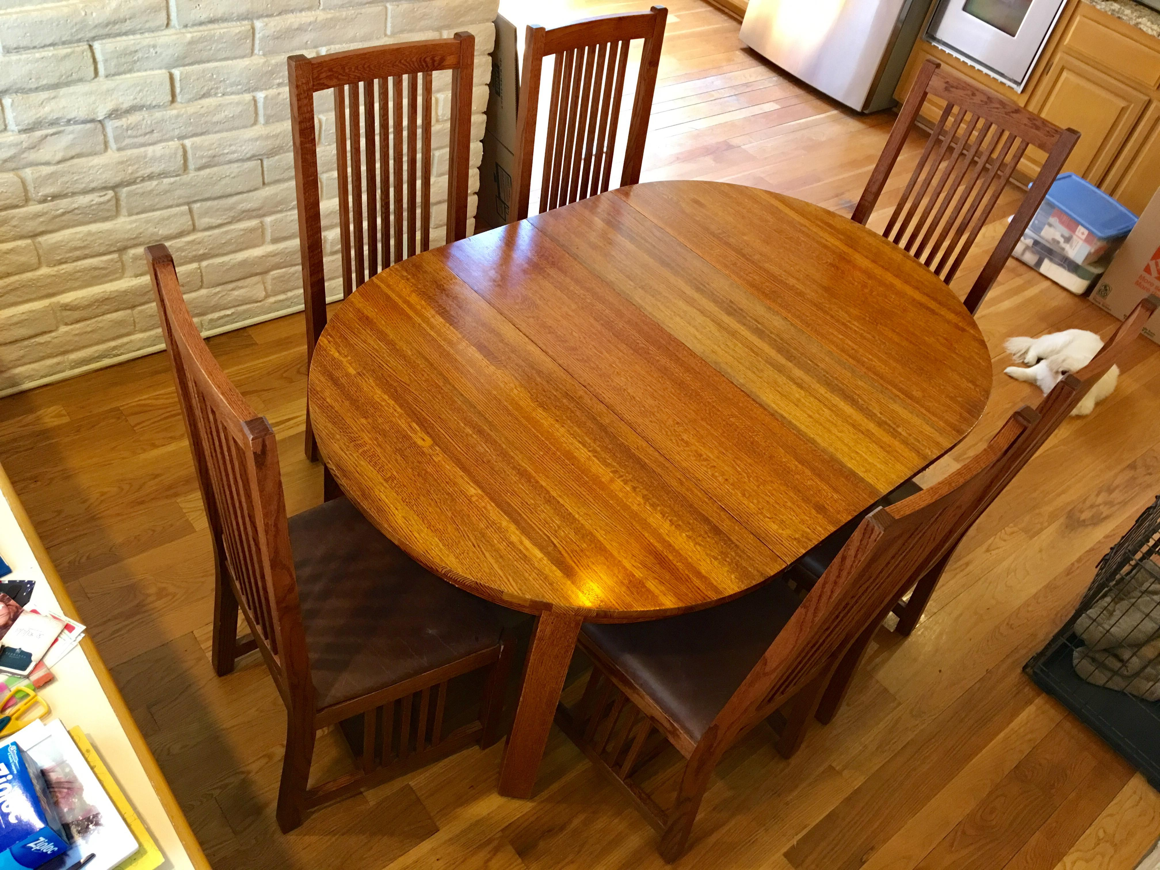 Genial Mission Restoration Hardware Mission Style Oak Dining Set   Set Of 7 For  Sale