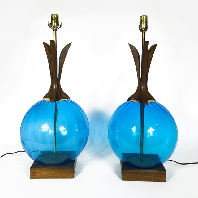 Mid-Century Modern Danish Mid Century Walnut and Blue Glass Lamps - a Pair For Sale - Image 3 of 9