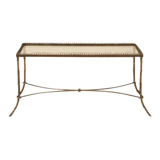 Vintage French Brass & Glass Coffee Table For Sale