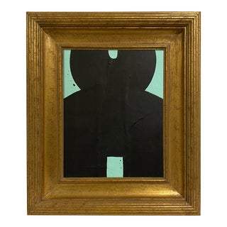 Ron Giusti Mini Kokeshi Doll Head Mint Black Acrylic Painting For Sale