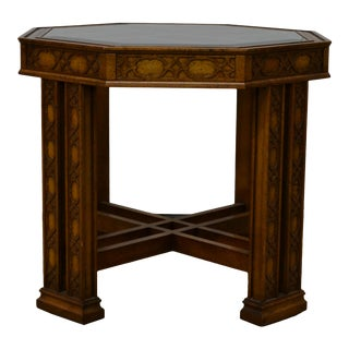 1960sChippendale Octagon Accent Table with Glass Top For Sale