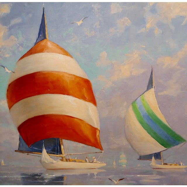 Redmond Stephens Wright - Colorful Sailing Boats -Oil Painting For Sale - Image 4 of 8