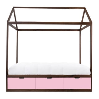 Domo Zen Twin Canopy Bed in Walnut With Pink Finish Drawers For Sale