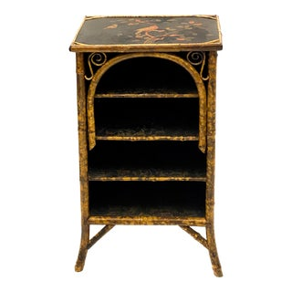 Antique English Burnt Bamboo Chinoiserie Cabinet For Sale