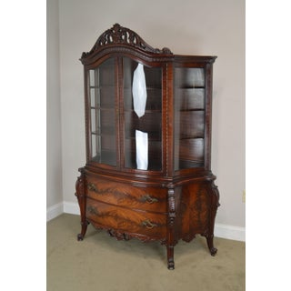 French Louis XV Style Vintage Custom Flame Mahogany Bow Glass China Cabinet Preview