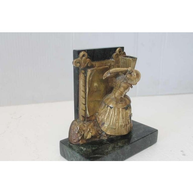 Pair of Bronze Monkey and Green Marble Bookends For Sale In Los Angeles - Image 6 of 11