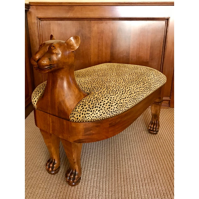 Textile Vintage Maitland-Smith Cat Ottoman For Sale - Image 7 of 7