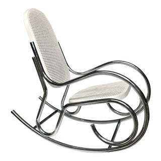 1970s Vintage Thonet Chrome and Rattan Rocker For Sale