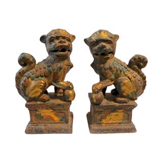 Heavy Cast Iron Foo Dogs - A Pair For Sale