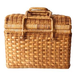 Vintage Woven Picnic Basket For Sale