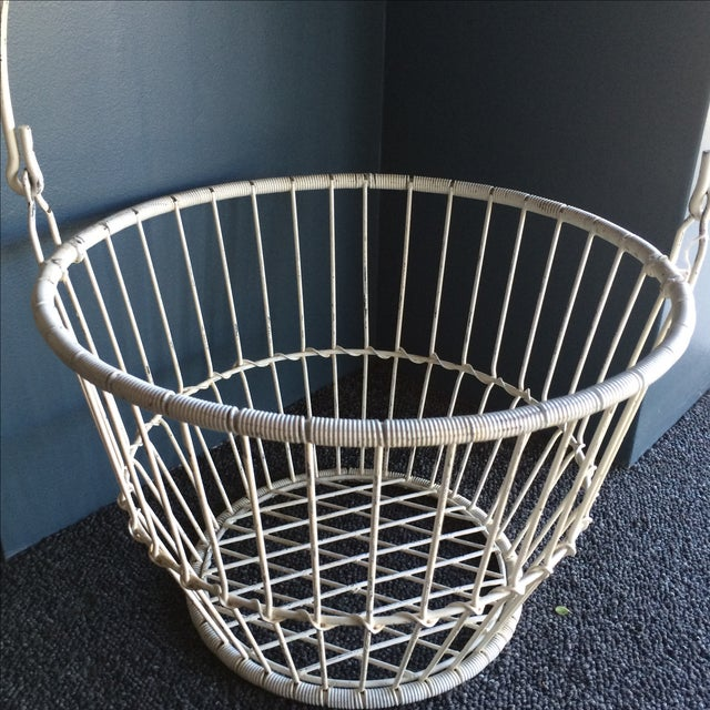 Vintage White Metal and Wire Basket - Image 4 of 7