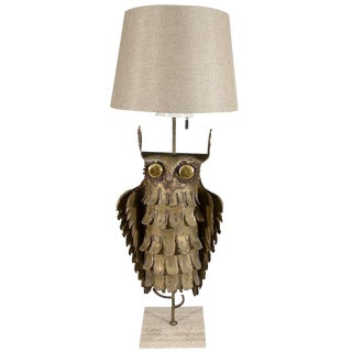 ABSTRACT BRUTALIST OWL TABLE LAMP BY CURTIS JERE For Sale