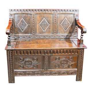 19th Century Charles II Style Carved Oak Settle For Sale