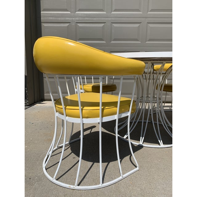 Yellow Mid-Century Modern Tulip Base Dining Table & Chairs by Blacksmith Shop For Sale - Image 8 of 13