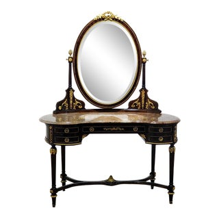 F. Linke Style Marble Top Vanity With Mirror For Sale