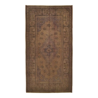 Vintage Turkish Isparta Distressed Purple Beige Over-Dye Area Rug - 4'7 X 8'6 For Sale