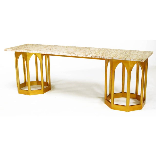 Marble Top Console Table with Twin Gilt Octagonal Bases - Image 3 of 7