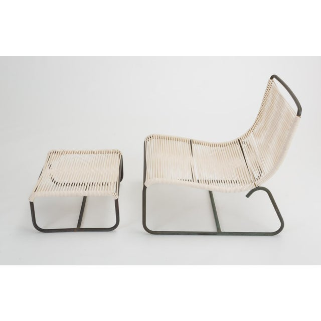 Brown Jordan Pair of Walter Lamb Sleigh Chairs With Single Ottoman For Sale - Image 4 of 12
