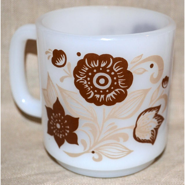 Glasbake Brown Floral Mugs - Set of 4 For Sale - Image 4 of 5