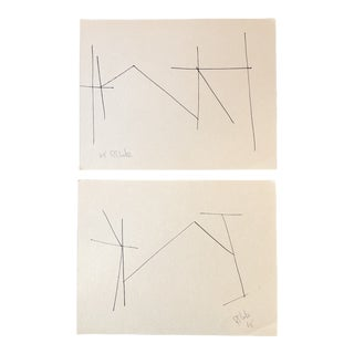 Gallery Wall Collection 2 Original 1960's Robert Cooke Abstract Ink Drawings For Sale