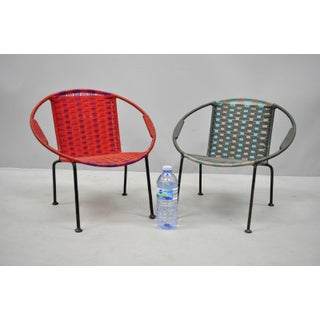 Vintage Mid Century Childs MCM Hoop Saucer Woven Chairs- a Pair Preview