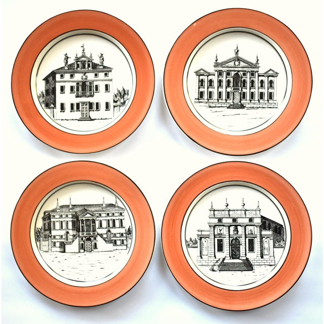 Vintage Italian Mottahedeh Creil Creamware Neoclassical Palazzo Architecture Small Plates With Coral Border - Set of 4 For Sale - Image 11 of 11