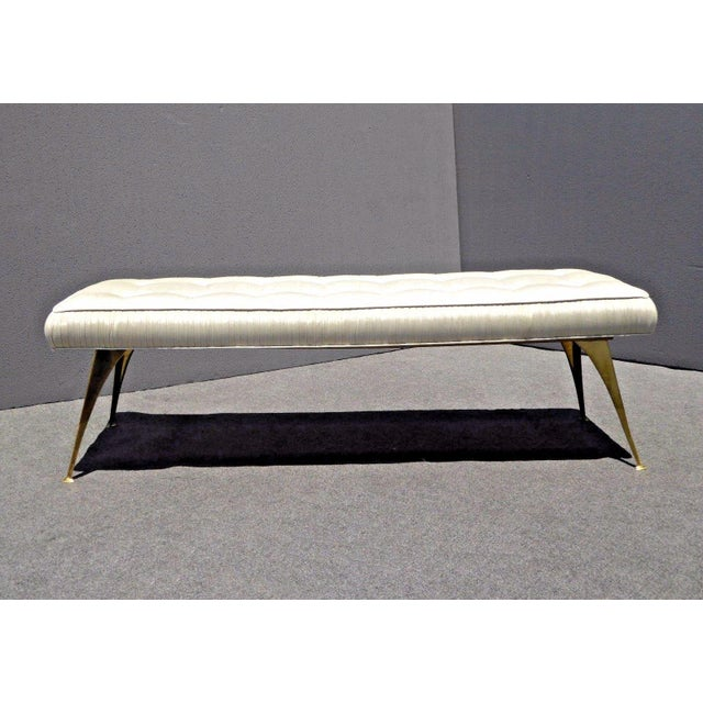 Jonathan Adler Style Mid-Century Modern Bench With Brass Legs - Image 3 of 11