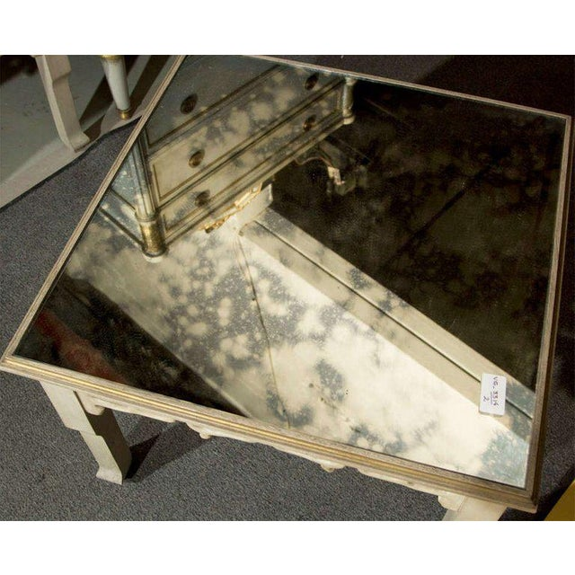 Mid 20th Century Distressed Mirror Glass Top Squared Asian Style End Tables Stamped Jansen, Pair For Sale - Image 5 of 13