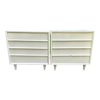 Mid Century Modern White Lacquered Night Stands/Chests - a Pair For Sale