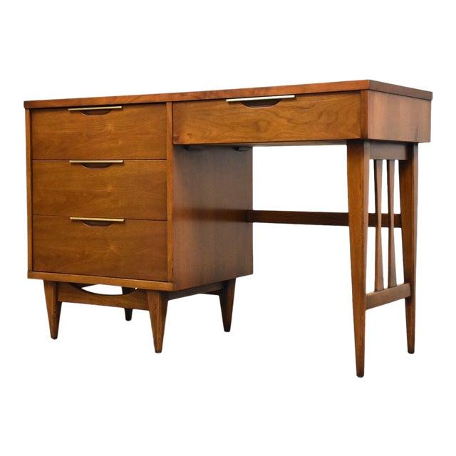 Kent Coffey Tableau Walnut and Brass Desk For Sale