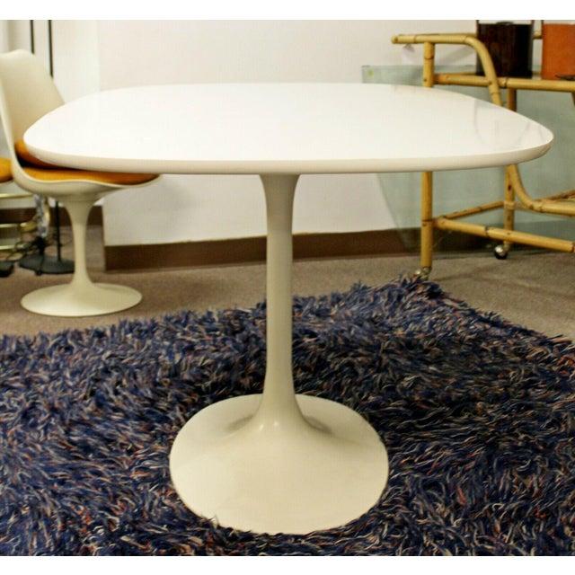 1960s Mid Century Modern Saarinen Style Rectangular White Tulip Dining Table For Sale - Image 5 of 8