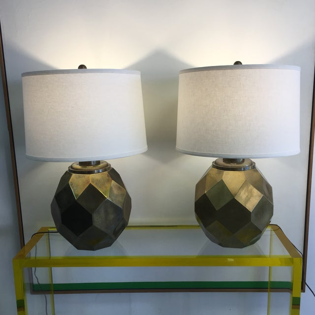 1977 Faceted Chapman Brass Lamps - a Pair - Image 8 of 8