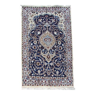 1970s, Handmade Vintage Persian Nain Rug With Silk 3.10' X 6.7' For Sale