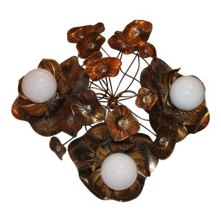 "1970's Floral French ""Maison Charles"" Ceiling Mounted Light Fixture - Dore"