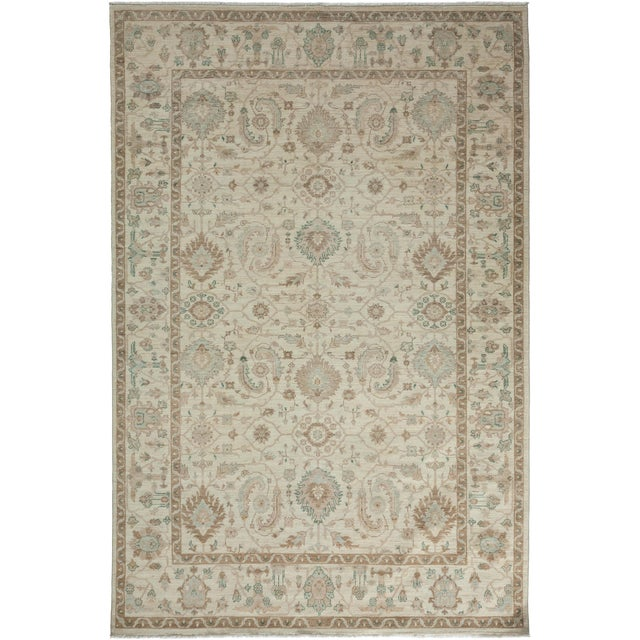 "Oushak Hand Knotted Area Rug - 6'0"" X 9'1"" For Sale"