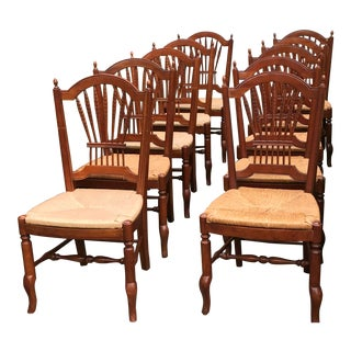 Ethan Allen Country French Solid Cherry Chairs- Set of 10 For Sale