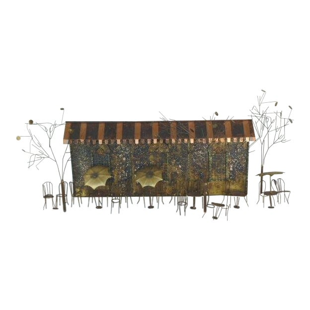 Large 1970's Curtis Jere Brass and Copper Cafe Wall Sculpture For Sale