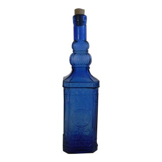 Blue Depression Era Glass Oil Bottle For Sale