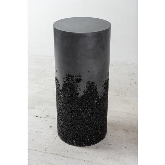 Hand Made Tourmaline and Black Plaster Tall Drum, Side Table by Samuel Amoia For Sale In New York - Image 6 of 13
