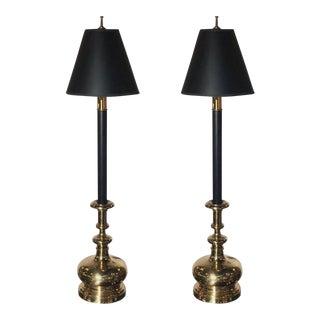 Vintage Brass Chapman Candlestick Lamps - A Pair