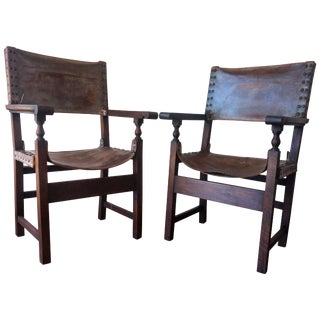 18th Century Pair of Colonial European Spanish Altar Armchairs For Sale