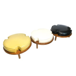 Vintage Mid-Century Ethan Allen Round Stackable Stools / Ottomans - Set of 3 For Sale