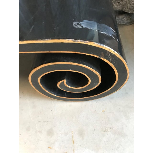 Hollywood Regency Black and Gold Lacquer Scroll Coffee Table For Sale - Image 3 of 11