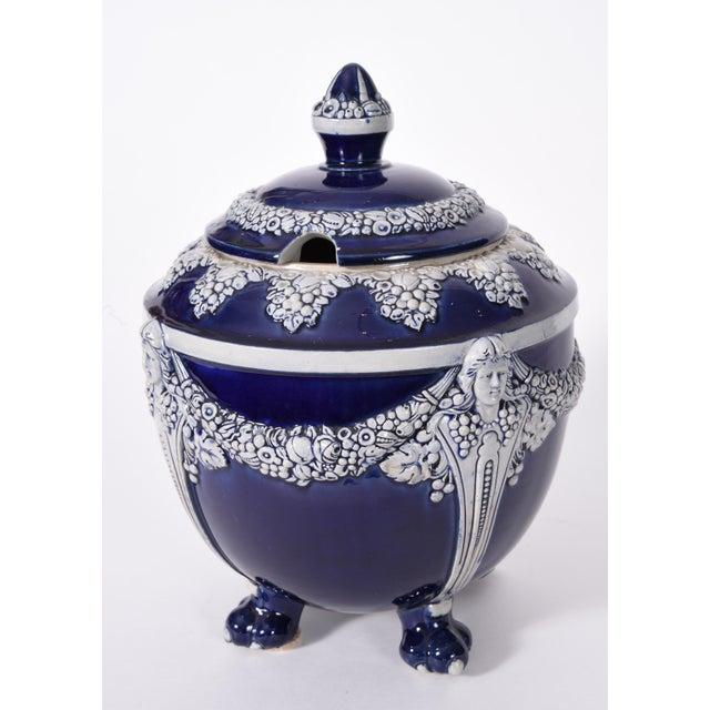 Art Nouveau German Porcelain Covered Decorative Piece For Sale - Image 3 of 10