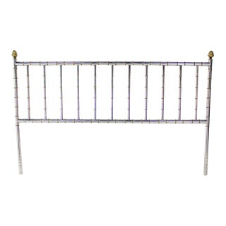 Mid-Century Modern Mastercraft Style Chrome and Brass, King-Size Headboard For Sale